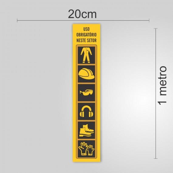 PLACA PVC ADESIVADO 20cmX100cm - SINALIZAÇÃO EPI