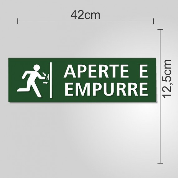PLACA PVC ADESIVADO 12,5cm X 42cm - APERTE EMPURRE