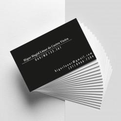 Cartão de visita colorido frente e preto e branco verso com laminação fosca e verniz localizado