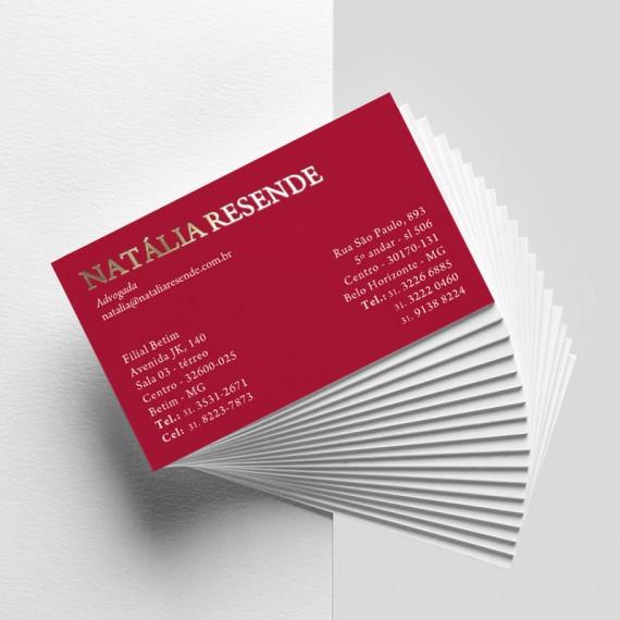 Cartão de visita colorido frente e verso com laminação fosca e hotstamp