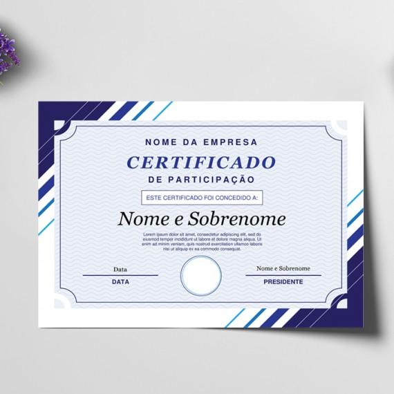 Certificado A4 Vergê Branco 220gr 4x0 cores