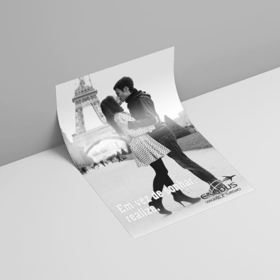 Panfleto 10x15 cm - Couché fosco 170 gr - Colorido frente e verso